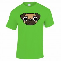 Mens Unisex Cartoon Style Pug T-Shirt (Available in 4 colours)