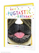 Pug Birthday Card With Wearable Face Mask