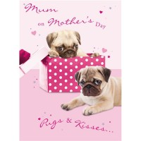 Pugs & Kisses Mothers Day Card