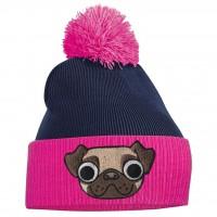 Ladies/Girls Pug Pink & Navy Beanie Hat
