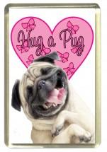 Pink Hug A Pug Fridge Magnet