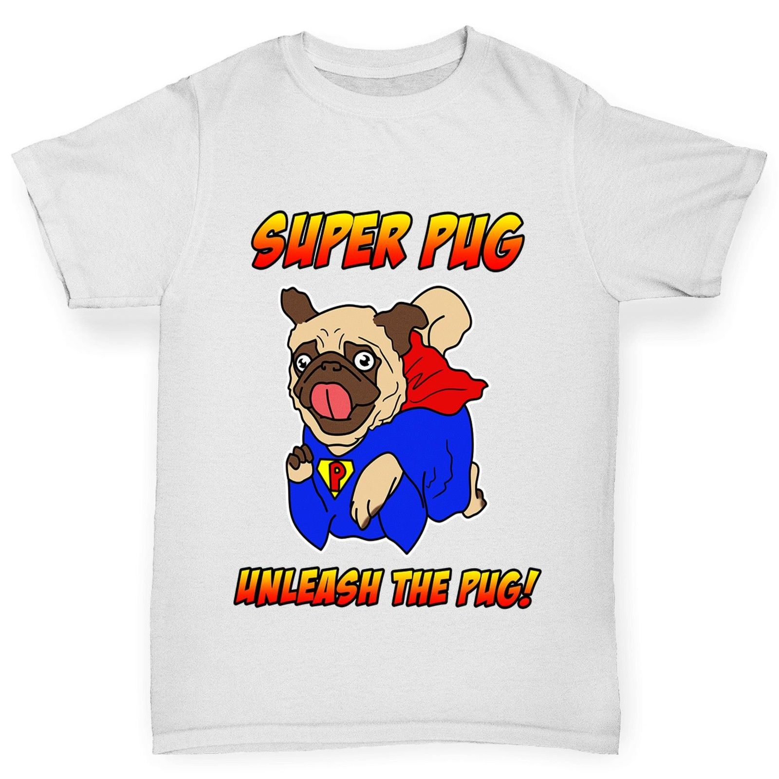 Boys pug superhero t shirt available in five colours i Boys superhero t shirts