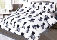 Single Black & White Pug Duvet Set