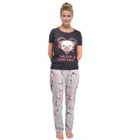 This Is My Happy Face Ladies Pug PJ Set