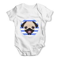 White Unisex Pug Baby Grow