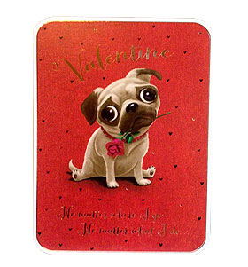 Pugs & Roses Valentines Day Card