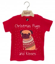 Babies Pugs & Kisses Christmas T-Shirt (Available in 4 colours)