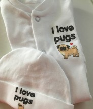 I Love Pugs Baby Grow & Hat