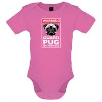 Pink Guard Pug Baby Grow