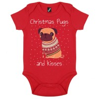 Christmas Pugs & Kisses Baby Grow (Available in 4 colours)
