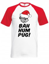 Mens Pug Christmas Baseball Style T-Shirt