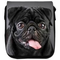 Happy Black Pug Shoulder Bag