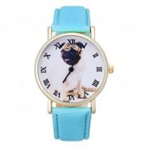 Pug PU Leather Blue Strap Wrist Watch