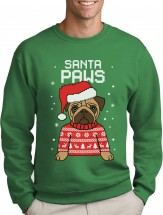 Mens Pug Santa Paws Christmas Sweater (Available in 5 colours)