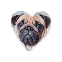 Pug Heart Shaped Cushion