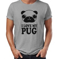 Mens I Love My Pug T-Shirt (Available in 2 colours)