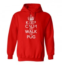 Unisex Red Keep Calm & Walk The Pug Hoodie