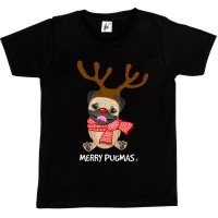 Kids Merry Pugmass Christmas T-Shirts (Available in 4 colours)