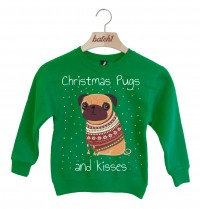 Child's Pugs & Kisses Christmas Sweater (Available in 5 colours)