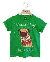 Kids Pugs & Kisses Christmas T-Shirts (Available in 5 colours )