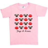 Girls Pug Kisses T-Shirt (Available in 4 colours)
