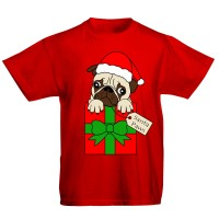 Kids Christmas Pug T-Shirt (Available in 4 colours)