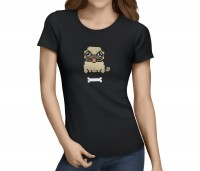 Ladies Pixel Pug T-Shirt (Available in 5 colours)