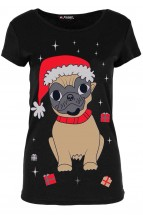 Ladies Pug Santa T-Shirts (Available in 2 colours)