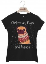 Ladies Pugs & Kisses Christmas T-Shirt (Available in 5 colours)