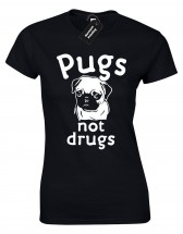 Ladies Pugs Not Drugs T-Shirt (Available in 6 colours)