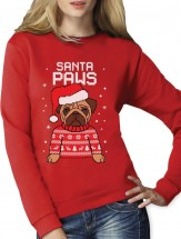Ladies Santa Paws Pug Christmas Sweater (Available in 5 colours)