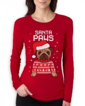 Ladies Bah Hum Pug Long Sleeved Christmas T-Shirt (Available in 2 colours)