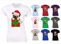 Ladies Pug Santa T-Shirt (Available in 7 colours)