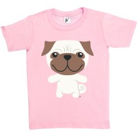 Kids Smiling  Pug T-Shirt (Available in 5 colours)