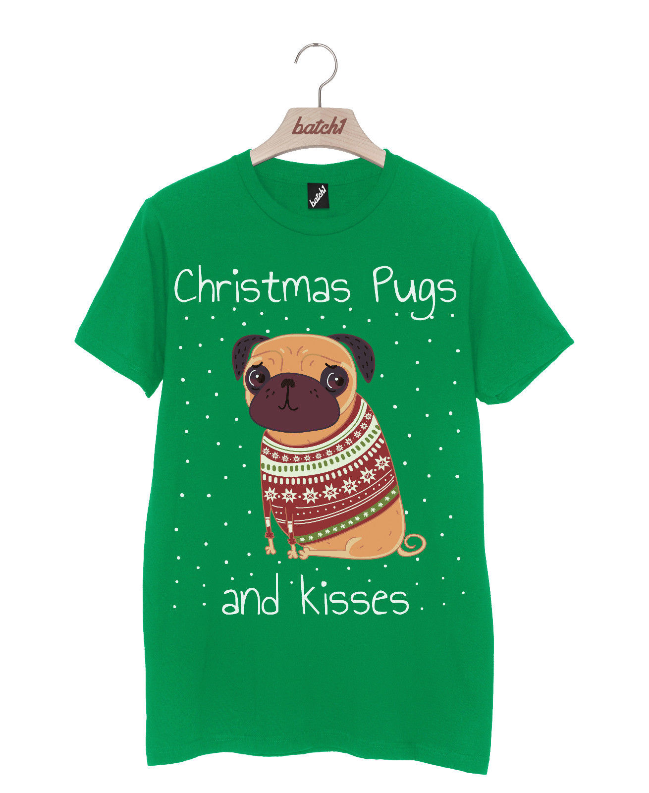 Mens Pugs Amp Kisses Christmas T Shirt Available In 5