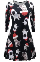 Ladies Christmas Pug & Kitten Dress