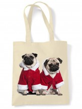 Santa Pug Christmas Tote Bag
