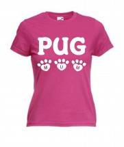 Ladies Pug Mum T-Shirt (Available in 4 colours)