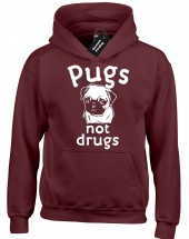 Unisex Pugs Not Drugs Hoodie (Available in 5 colors)
