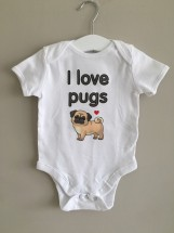 I Love Pugs Short Sleeved Baby Grow