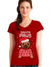 Ladies Santa Paws T-Shirt (Available in 3 colours)
