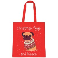 Christmas Pugs & Kisses Tote Bag (Available in Red & Green)