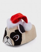 Ladies Santa Pug Christmas Slippers