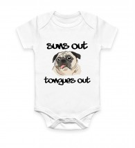 Unisex Suns Out Tongues Out Pug Baby Grow