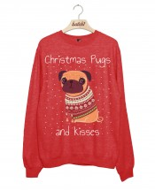 Ladies Christmas Pugs & Kisses Sweater (Available in 5 colours)