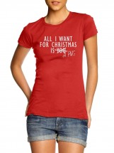 Ladies All I Want For Christmas Is A Pug T-Shirt