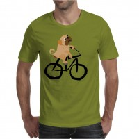 Mens Pug Bicycle  T-Shirt (Available in 16 colours)