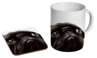 Black Pug Mug & Coaster Set