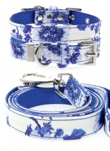 Urban Pup Blue Floral Bouquet Collar & Lead Set