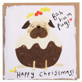 Pug Christmas Pudding Card